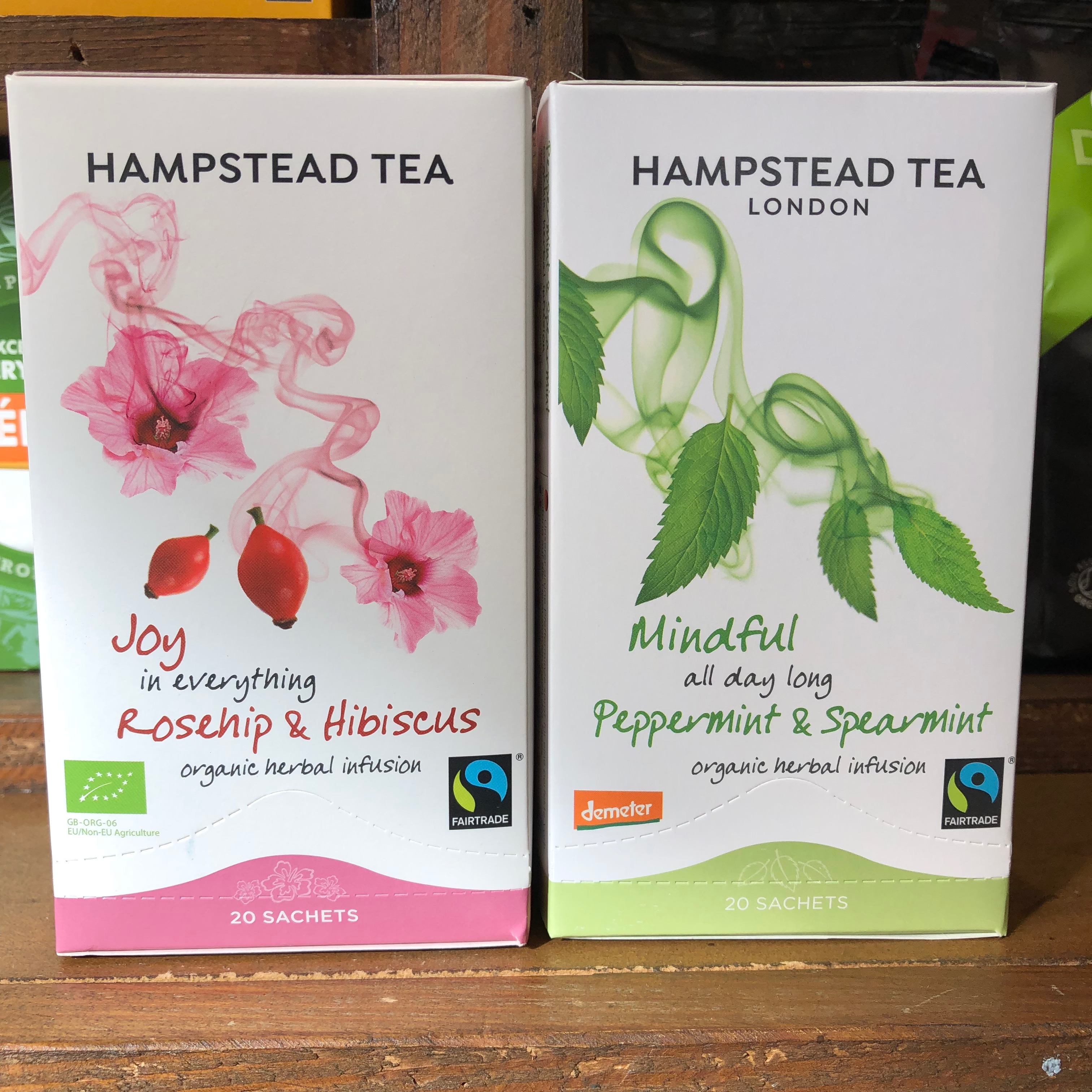 Hampstead boxes of rosehip & hibiscus and Peppermint & spearmint tea bags